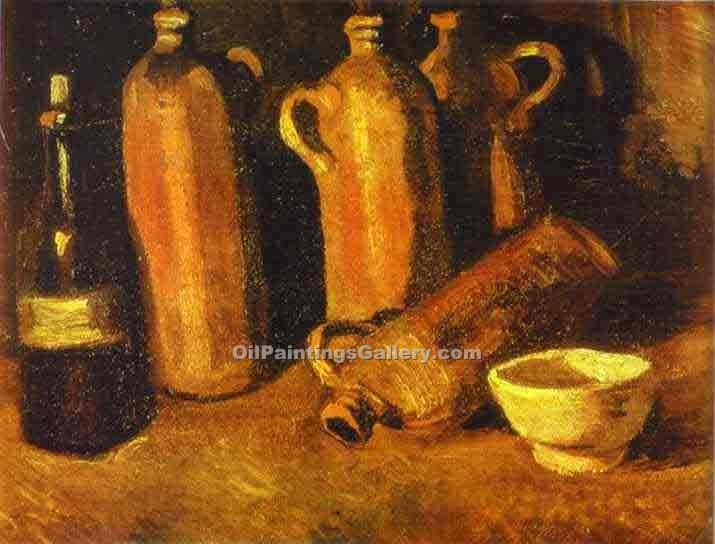 Still Life with Four Jugs by Vincent Van Gogh | Paintings Of Famous Artists - Oil Paintings Gallery