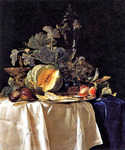 Still Life with Fruit and Crystal Vase by  Willem van Aelst (Painting ID: SL-0242-KA)