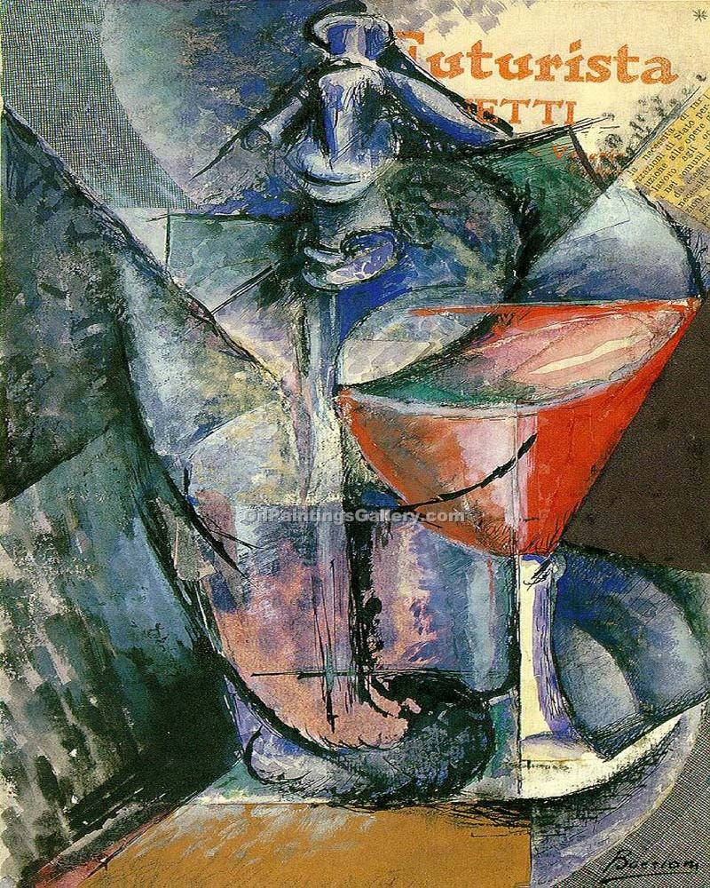 """Still Life with Glass and Siphon"" by  Umberto Boccioni"