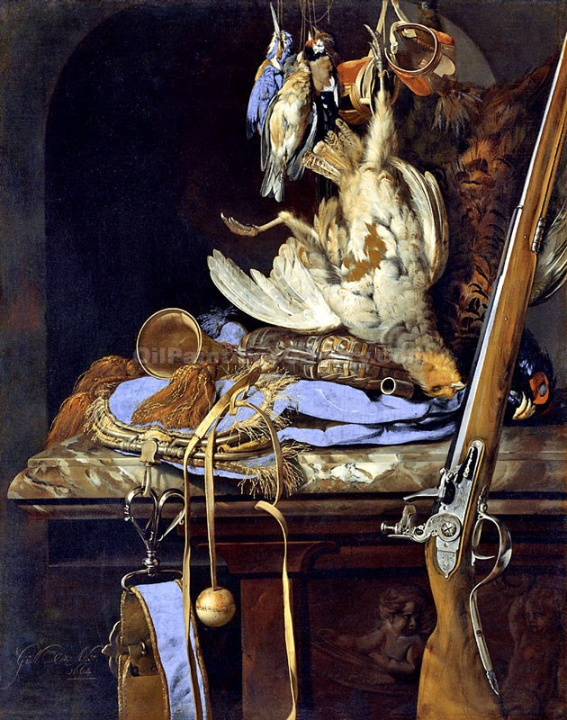 """Still Life with Hunting Equipment and Dead Bird"" by  Willem van Aelst"