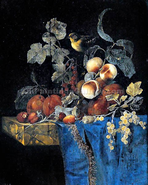 """Still Life with Peaches and Bird"" by  Willem van Aelst"