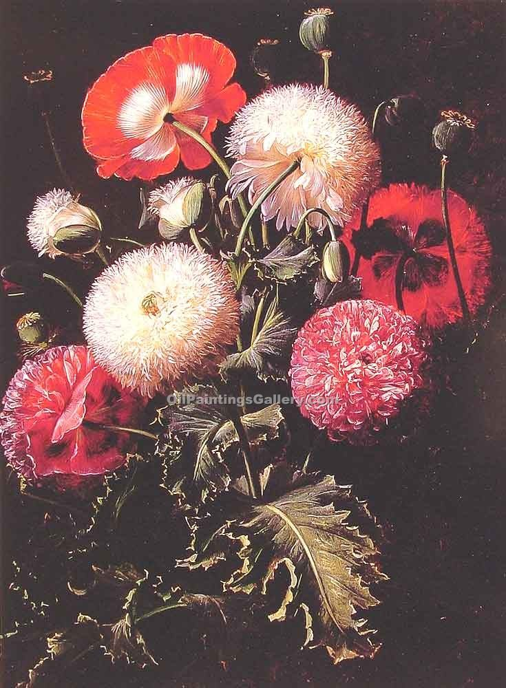 """Still Life with Pink Red and White Poppies"" by  Johan Laurentz Jensen"