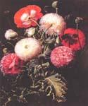 Still Life with Pink Red and White Poppies by  Johan Laurentz Jensen (Painting ID: SL-0182-KA)