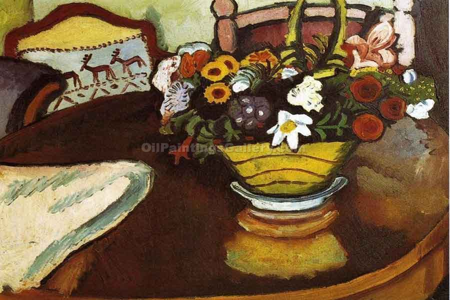 """Still Life with Stag Cushion and Flowers"" by  August Macke"