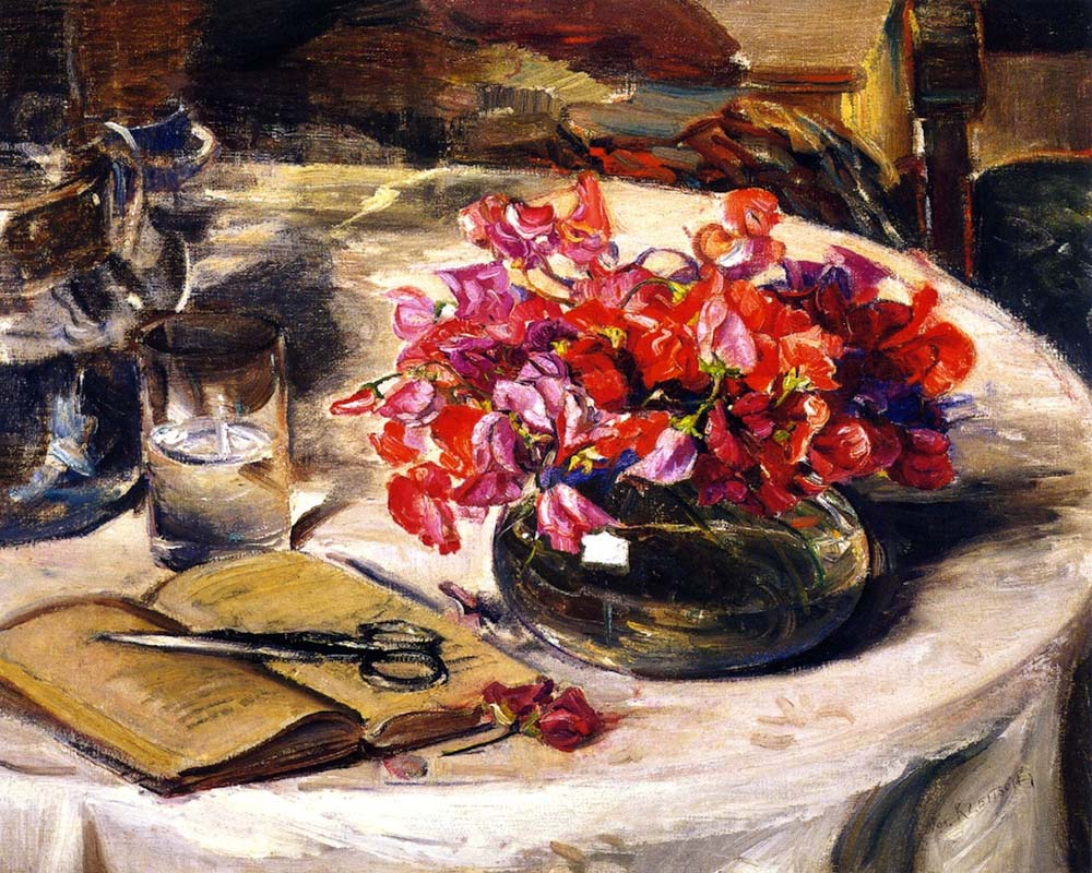 """Still Life with Sweet Peas"" by  Joseph Kleitsch"