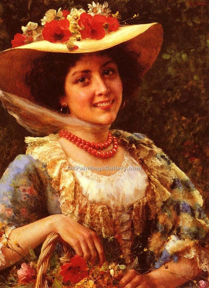 """Straw Hat with Poppies"" by  Federico Andreotti"