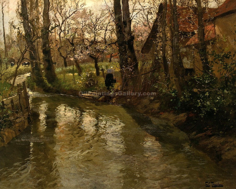 """Stream Through A Villiage"" by  Fritz Thaulow"