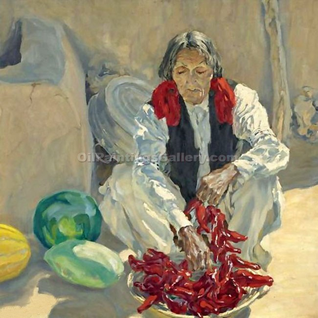 Stringing Chili Peppers by WalterUfer | Paintings On Canvas - Oil Paintings Gallery