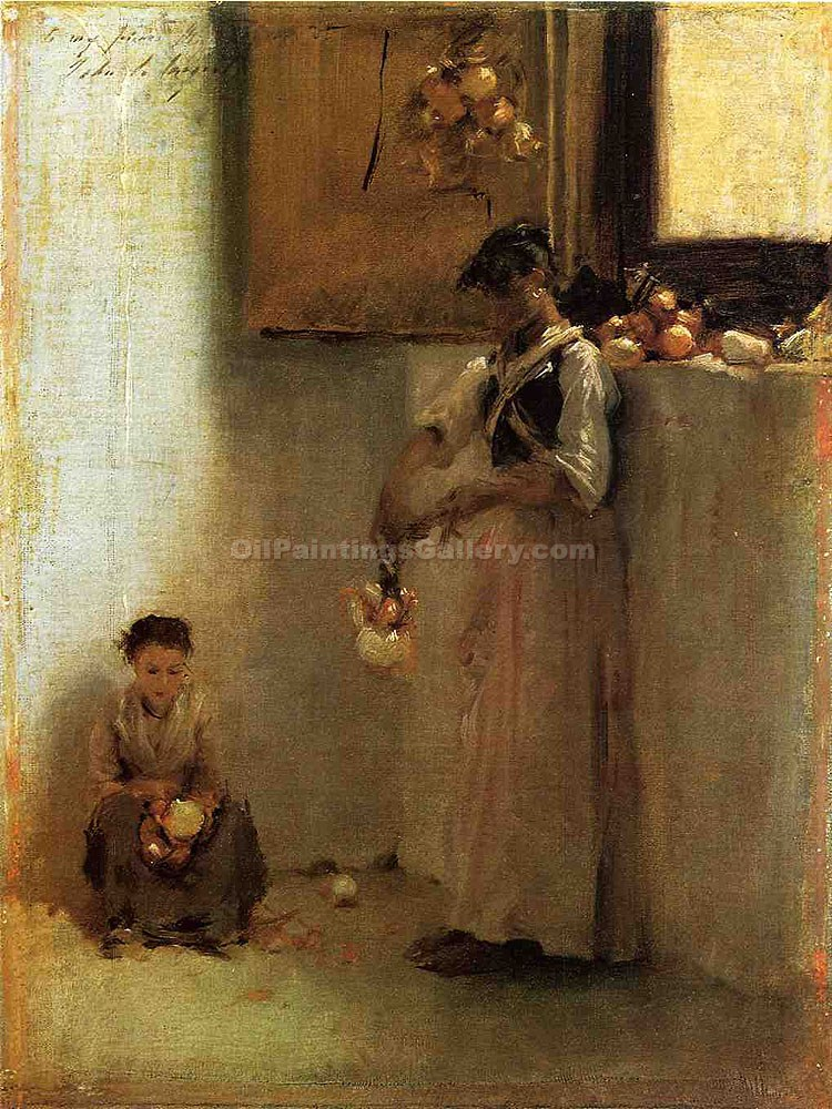 """Stringing Onions"" by  John Singer Sargent"