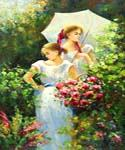 Strolling in the Garden  (Painting ID: EI-1023-KA)