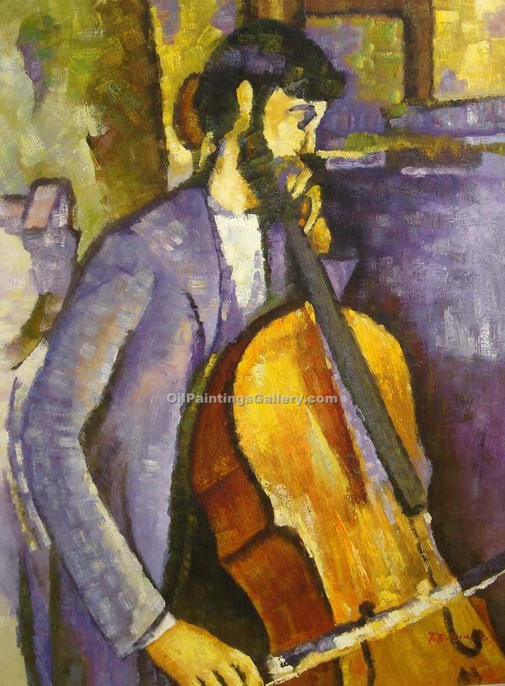 """Study for The Cellist"" by  Amedeo Modigliani"