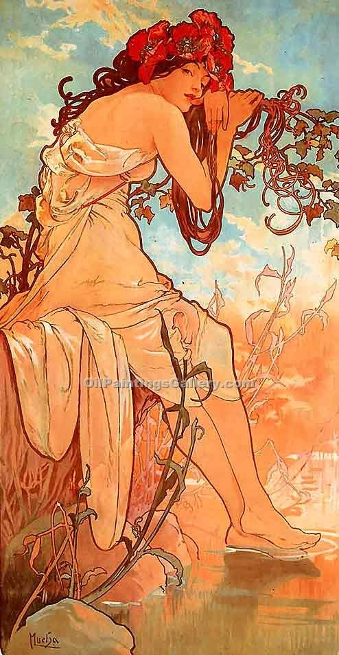 Summer 01 by Mucha Alphonse Maria | Portrait Paintings - Oil Paintings Gallery