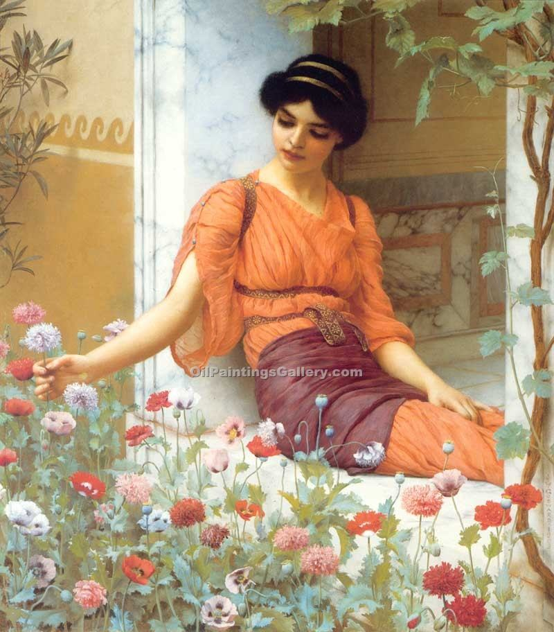 """Summer Flowers"" by  John William Godward"