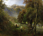 Summer Landscape on the Banks of the Alban Lake  by  Oswald Achenbach (Painting ID: LA-2284-KA)