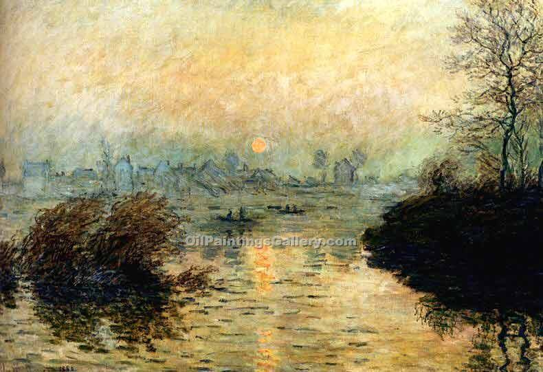 """Sun Setting Over The Seine At Lavacourt, Winter"" by  Claude Monet"