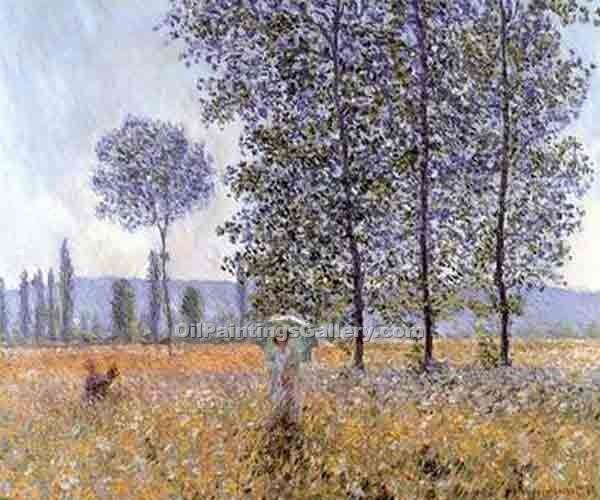 """Sunlight Under the Poplars"" by  Claude Monet"
