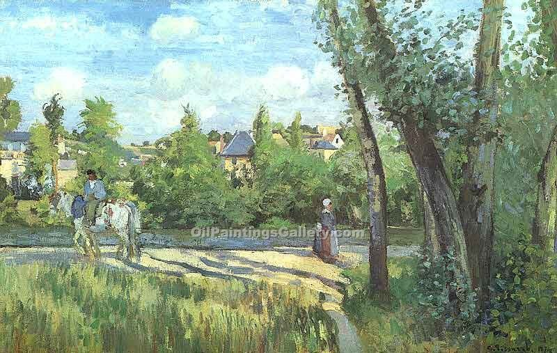 """Sunlight on the Road Pontoise"" by  Camille Pissarro"