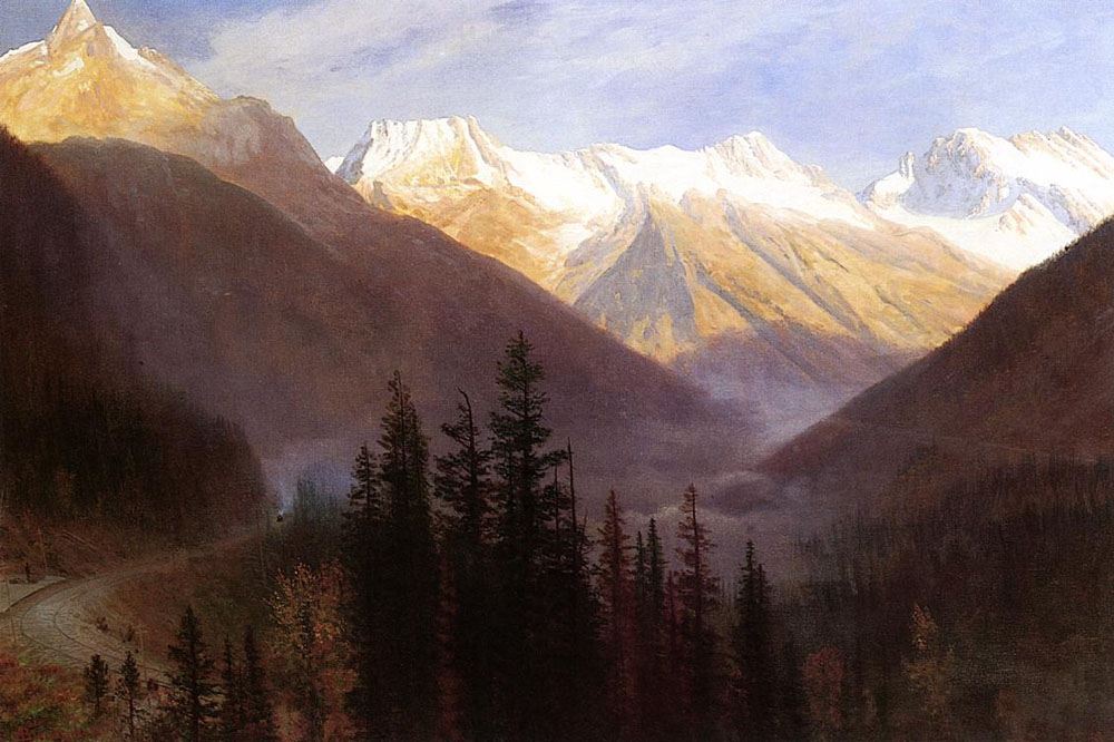 """Sunrise at Glacier Station"" by  Albert Bierstadt"