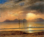Sunset Over A Mountain Lake by  Albert Bierstadt (Painting ID: LA-3401-KA)