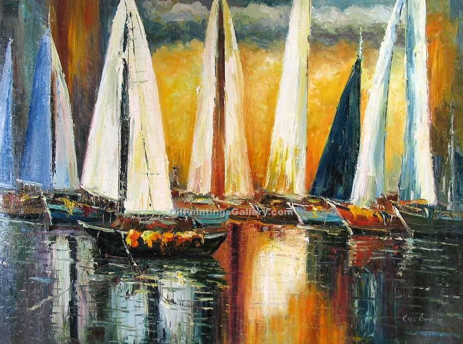 Buy Boat or Ship Oil Paintings Online  | Realism & Naturalism style Oil Paintings GallerySunset Sail 90