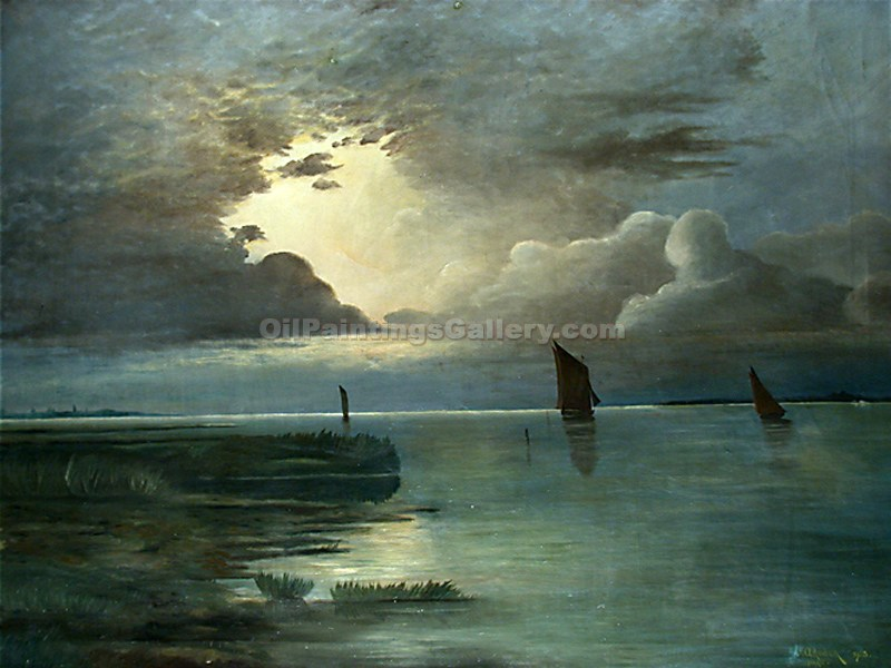 """Sunset at Sea with a Thunder Storm"" by  Andreas Achenbach"