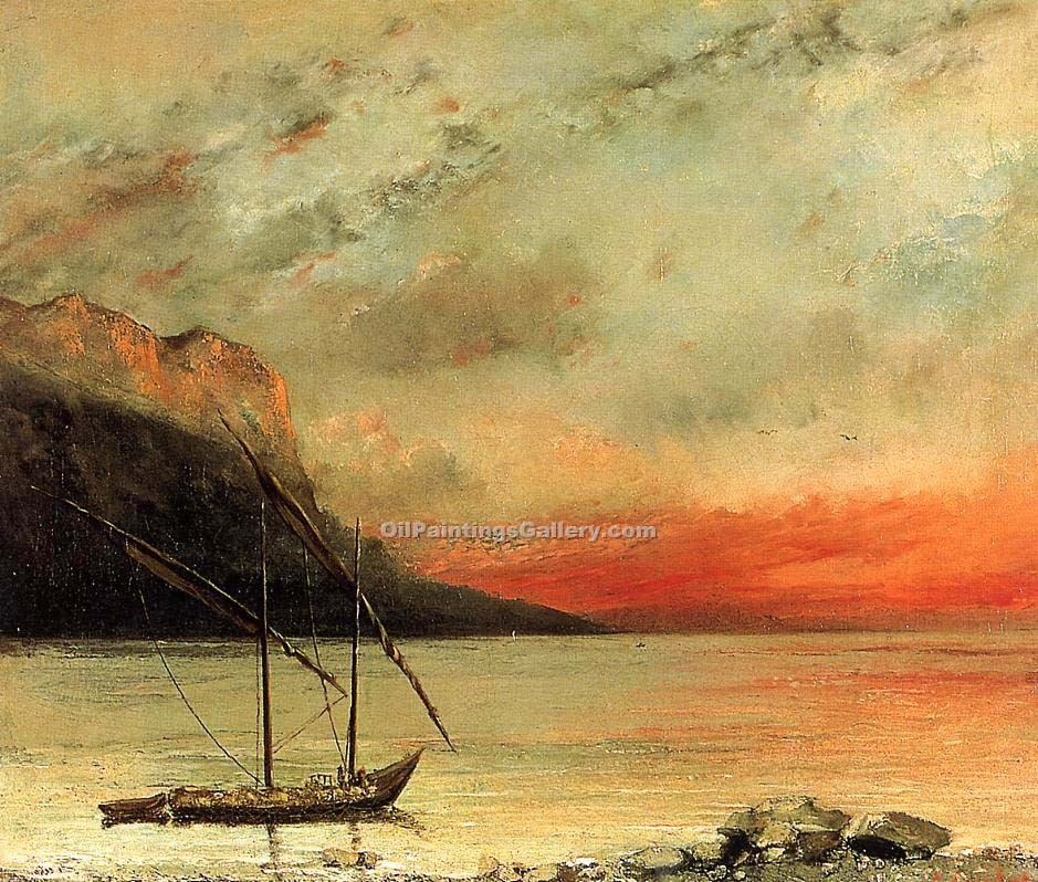 """Sunset on Lake Leman"" by  Gustave Courbet"