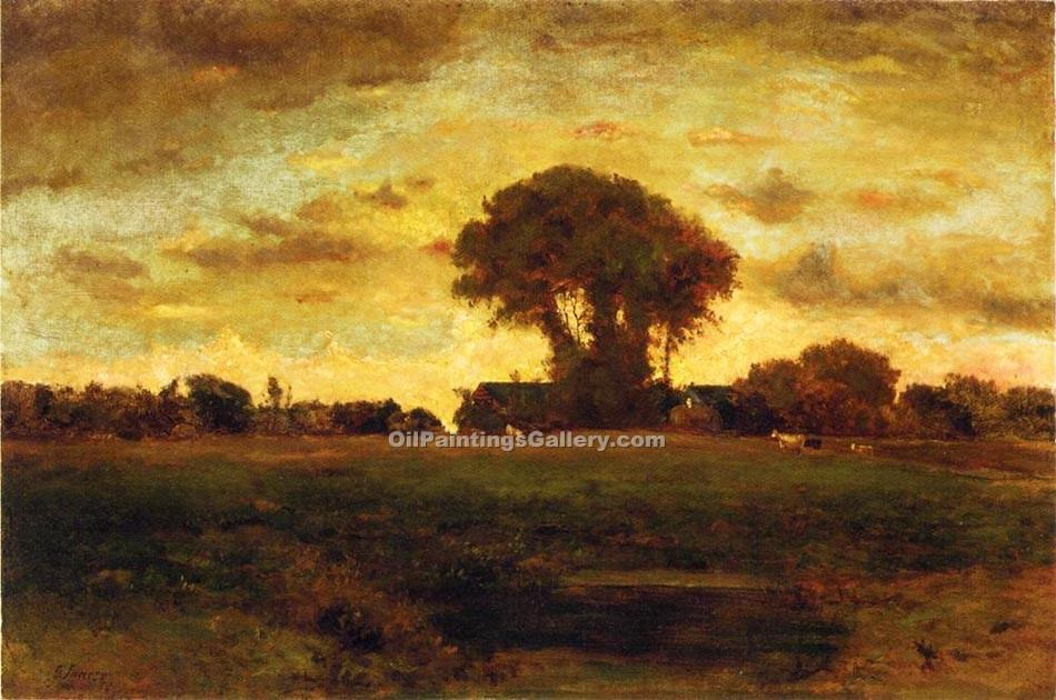 """Sunset on a Meadow"" by  George Inness"