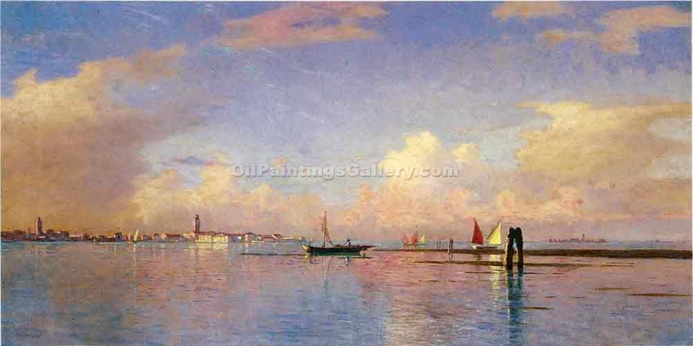 """Sunset on the Grand Canal, Venice"" by  William Stanley Haseltine"