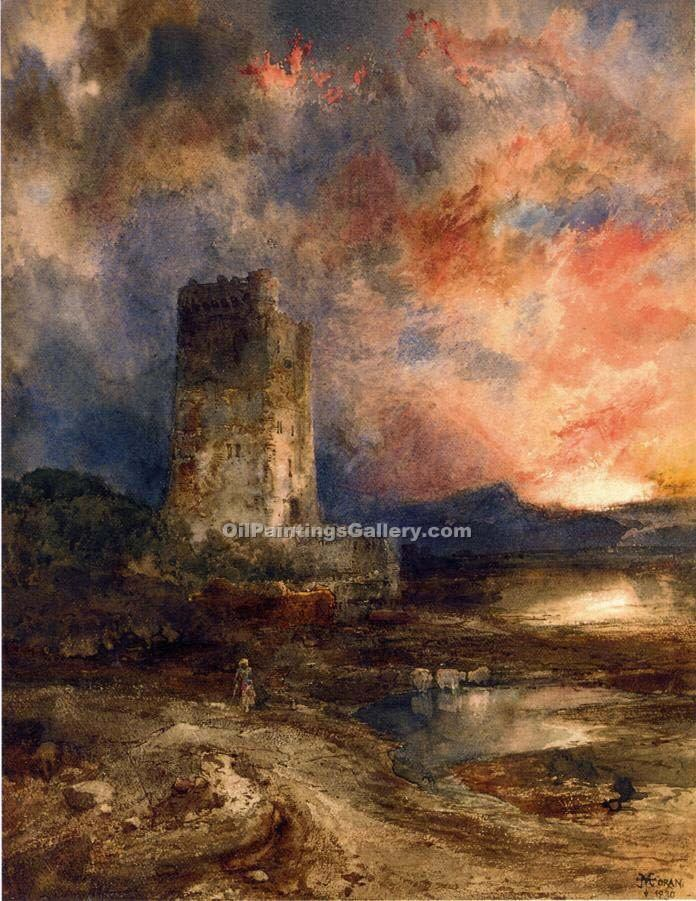 Sunset on the Moor by Thomas Moran | Paintings Of Famous Artists - Oil Paintings Gallery