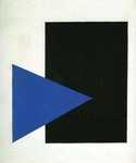 Suprematism with Blue Triangle and Black Square Oil Painting (ID: AB-0644-KA)