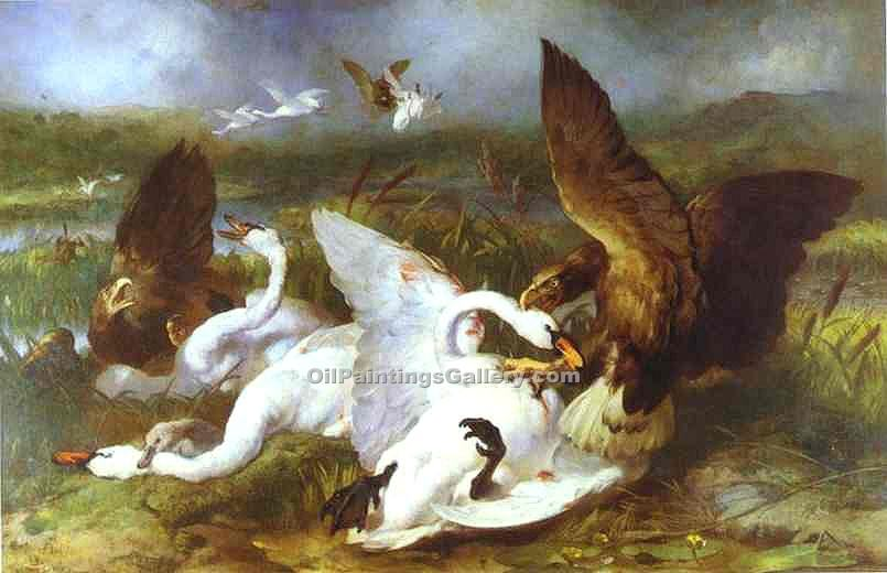 """Swannery Invaded by Eagles"" by  Sir Edwin Henry Landseer"