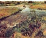 Swollen Stream at Shinnecoc by  William Merritt Chase (Painting ID: ED-1462-KA)