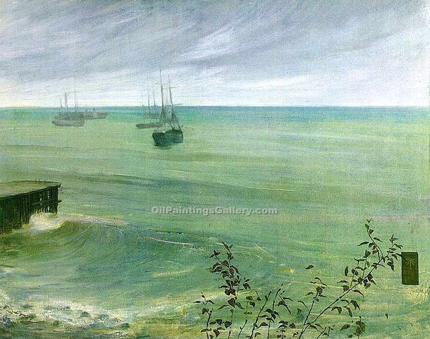 Symphony in Grey and Green the Ocean by Whistler James McNeill | Modern Artists Paintings - Oil Paintings Gallery