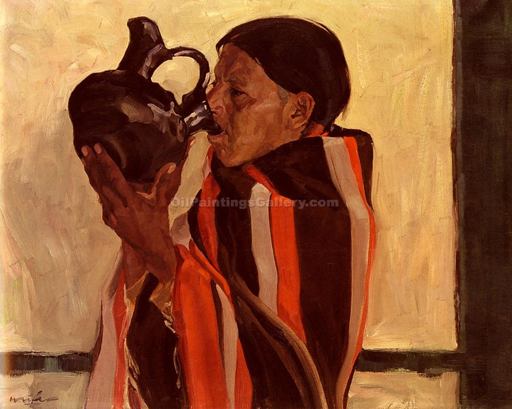 """Taos Indian Drinking"" by  Walter Ufer"