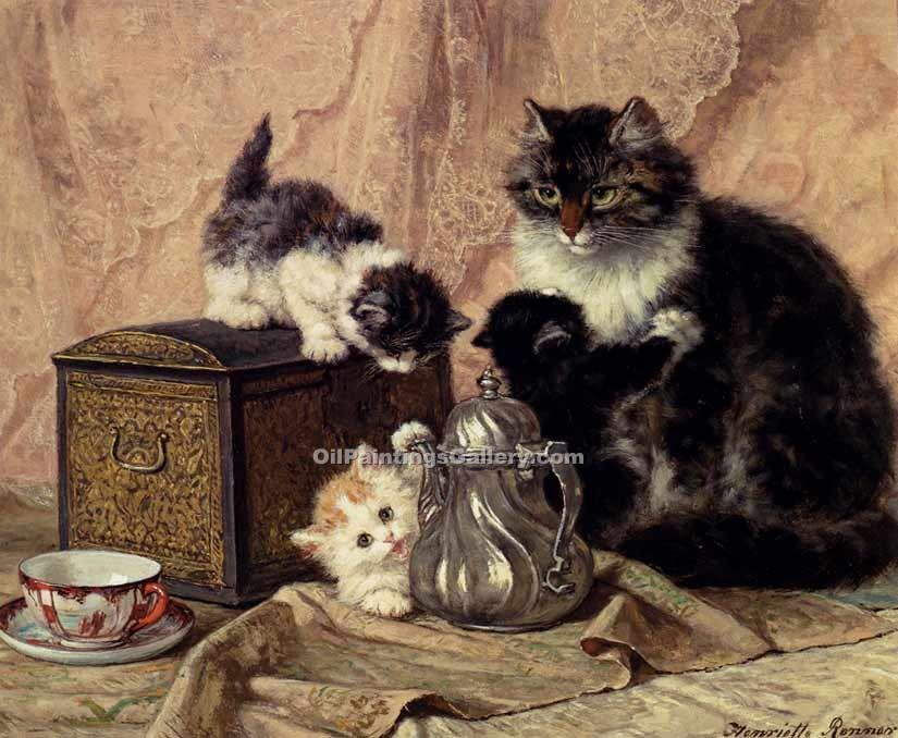 """Teatime For Kittens"" by  Henriette Ronner Knip"