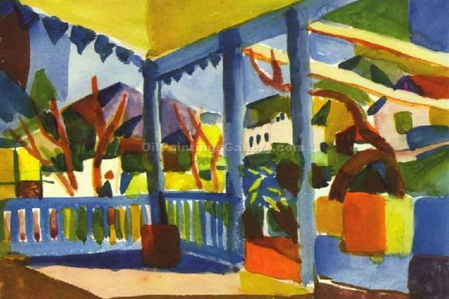 Terrace of the Country House in St Germain by August Macke | Acrylic Paintings