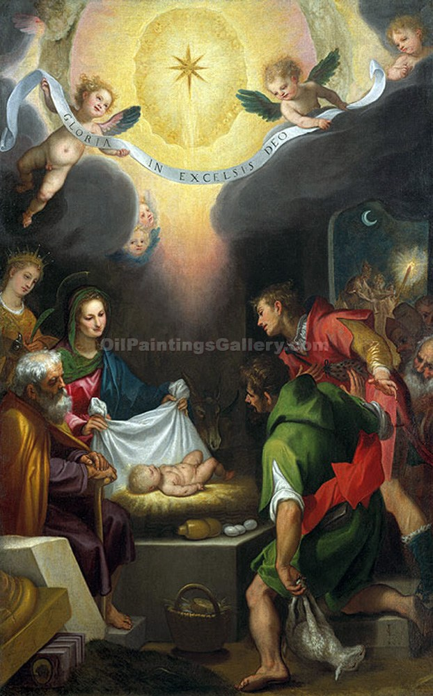 The Adoration of the Shepherds with Saint Catherine of Alexandria by Lodovico CardiCigoli | Gallery Of Paintings - Oil Paintings Gallery