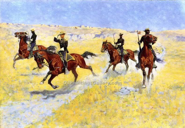 The Advance by Frederic Remington | Art Gallery Oil Painting - Oil Paintings Gallery