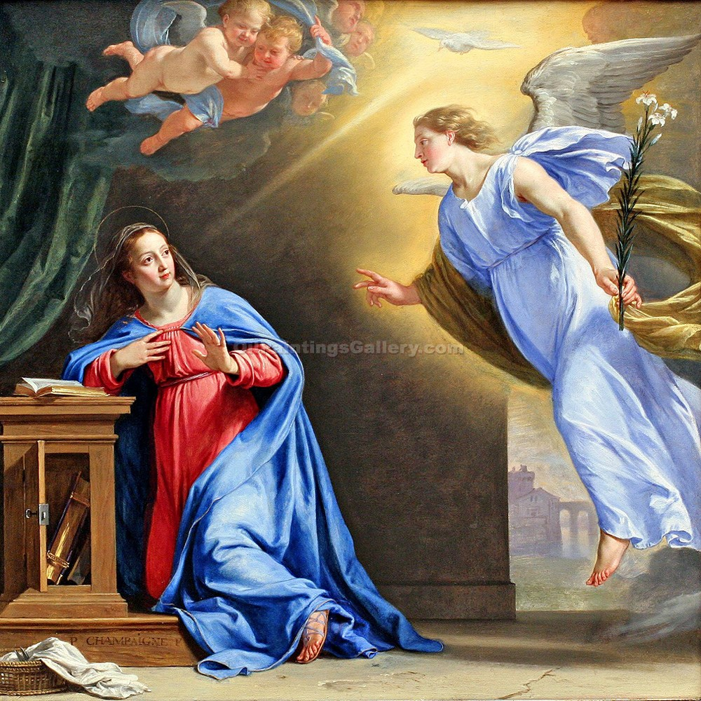 """The Annunciation 97"" by  Francesco Albani"
