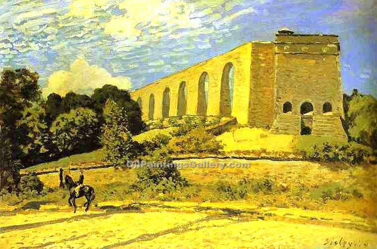 The Aqueduct at Marly by Alfred Sisley | Oil Paintings Website - Oil Paintings Gallery