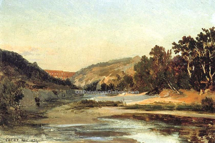 """The Aqueduct in the Valley"" by  Jean Baptiste Corot"