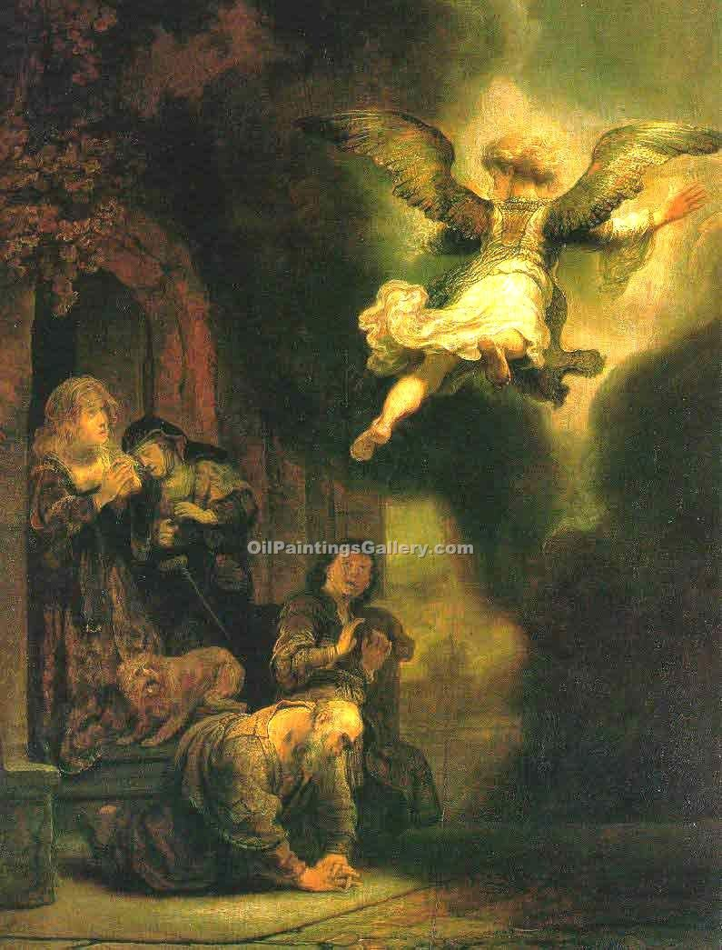 """The Archangel Leaving the Family of Tobias"" by  Harmenszoonvan Van Rijn Rembrandt"
