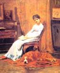 The Artists Wife and his setter Dog by  Thomas Eakins (Painting ID: CL-3570-KA)