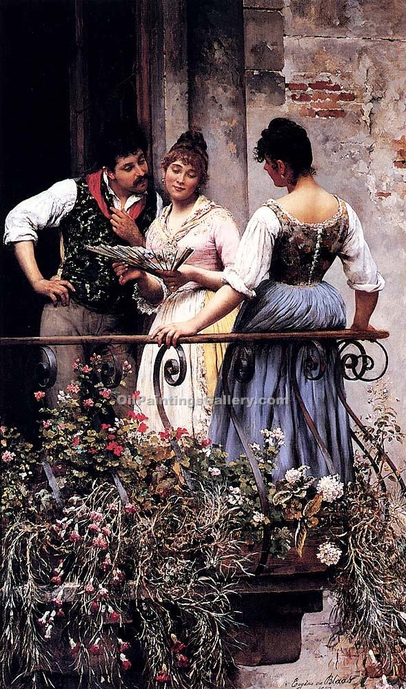 """The Balcony 30"" by  Eugene de Blaas"