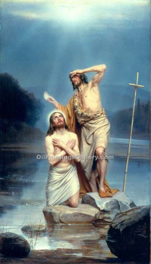 """The Baptism of Christ 66"" by  Carl Heinrich Bloch"