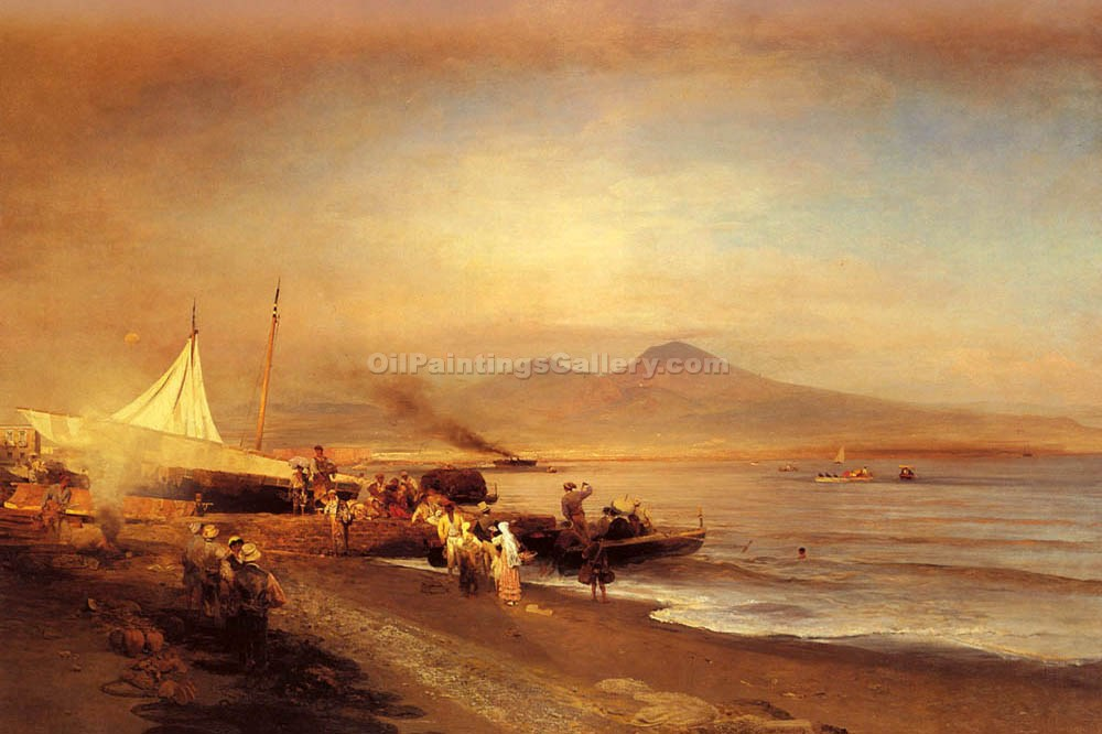 The Bay of Naples 99 by Achenbach Oswald | Handmade Oil Paintings - Oil Paintings Gallery