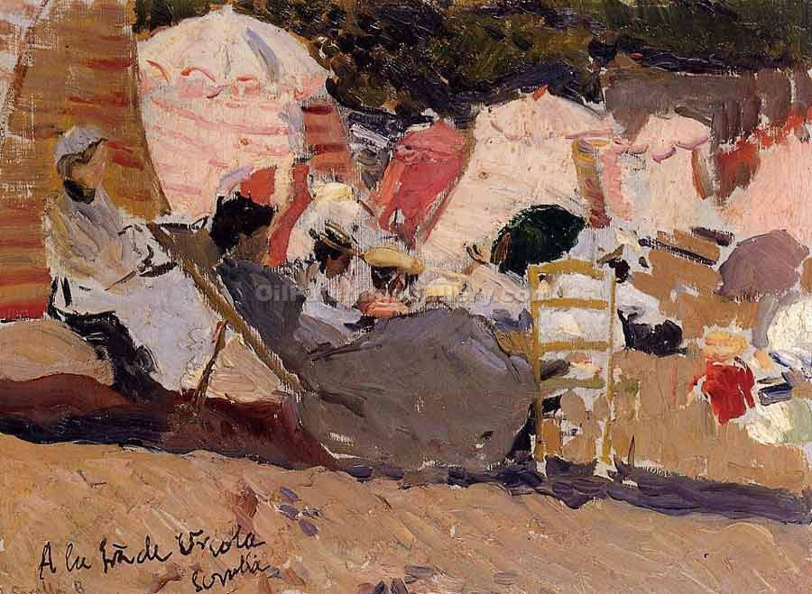 The Beach at Biarritz by Sorolla Bastida Joaquin | Hand Painted Oil Paintings - Oil Paintings Gallery