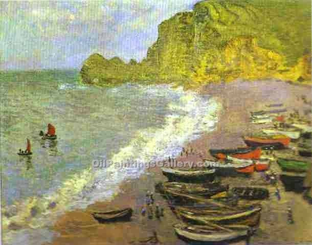 """The Beach at Etretat"" by  Claude Monet"