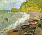 The Beach at Etretat by  Claude Monet (Painting ID: MO-0877-KA)