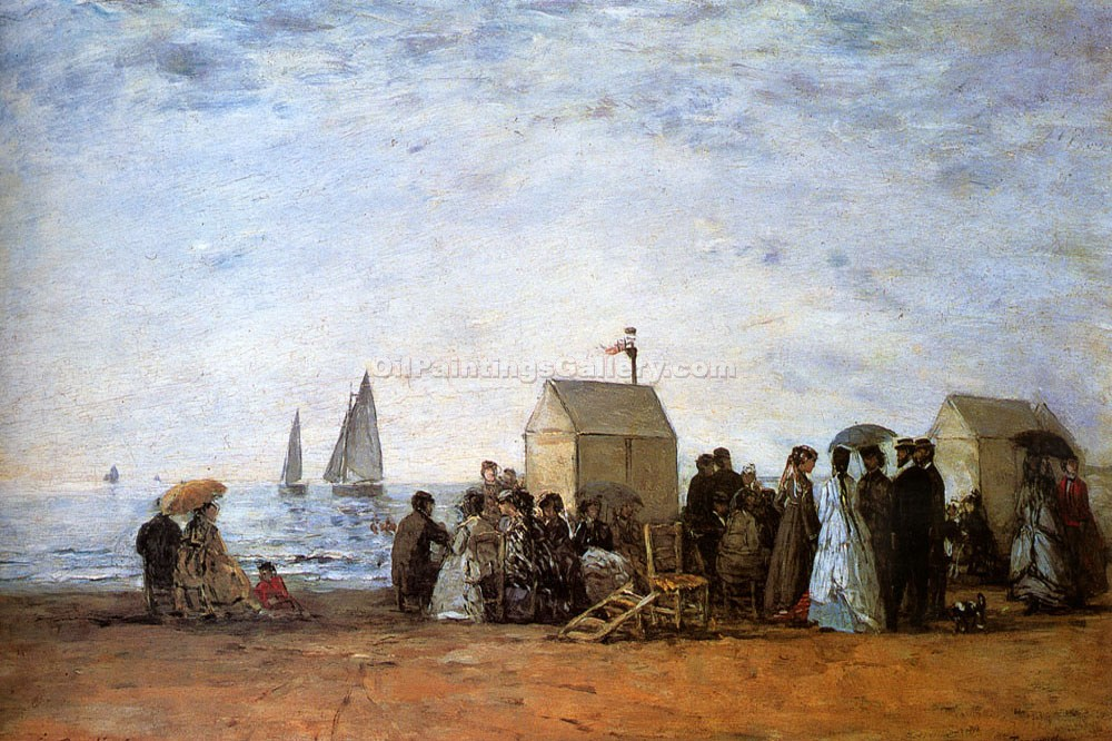 """The Beach at Trouville"" by  Eugene Louis Boudin"